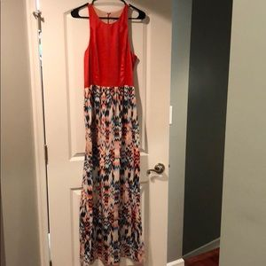 Abbeline Coral Teal Maxi Dress
